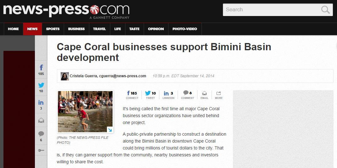 Cape Coral businesses support Bimini basin development